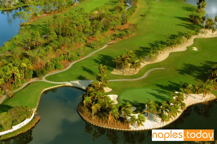 Aerial of beautiful Naples golf course