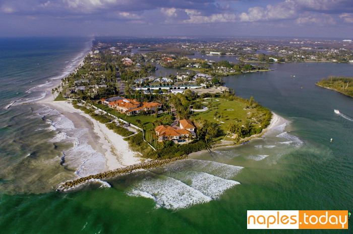 Aerial view of Gordon Pass in Naples Florida