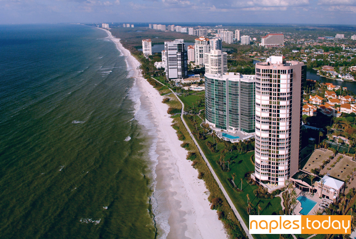 Aerial view of condos along Naples beach