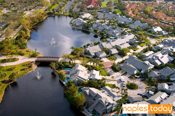 Aerial view of Naples luxury community