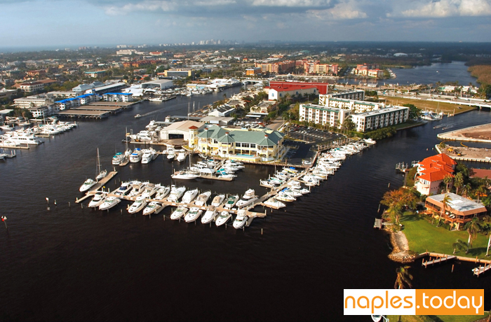 Aerial view of Naples marina