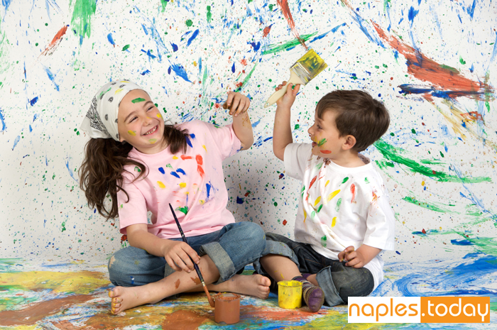 Children playing with paint