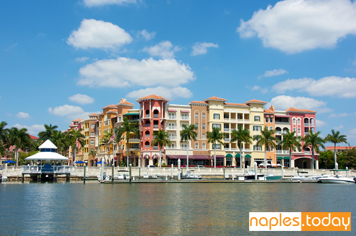Colorful buildings of Bayfront in Naples