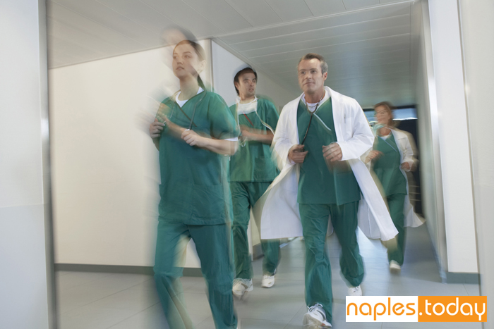 Doctors and nurses at Naples hospital