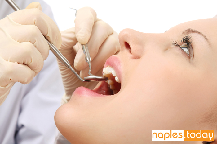 Examining patient at Naples Dentist