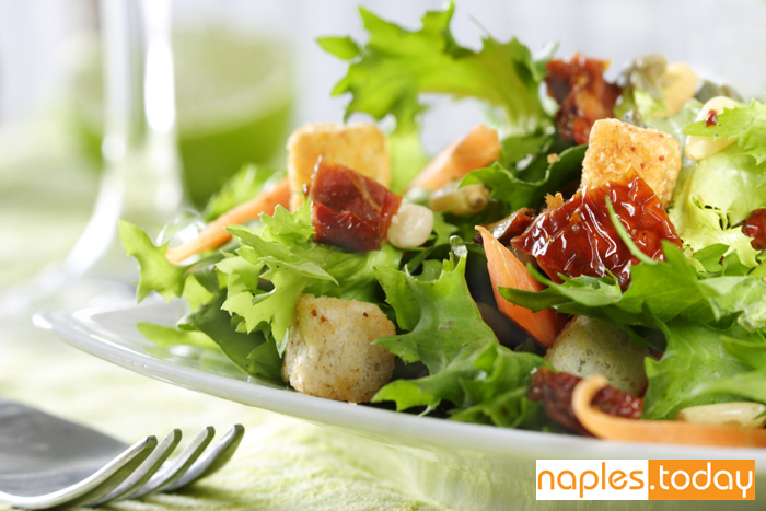 Healthy salad at Naples restaurant