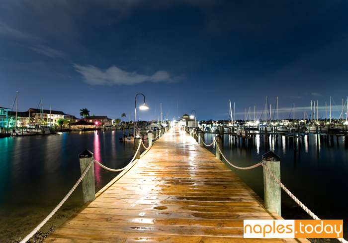 Naples city dock at dusk