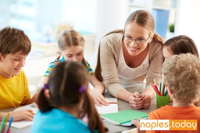 Naples schoolkids and their teacher