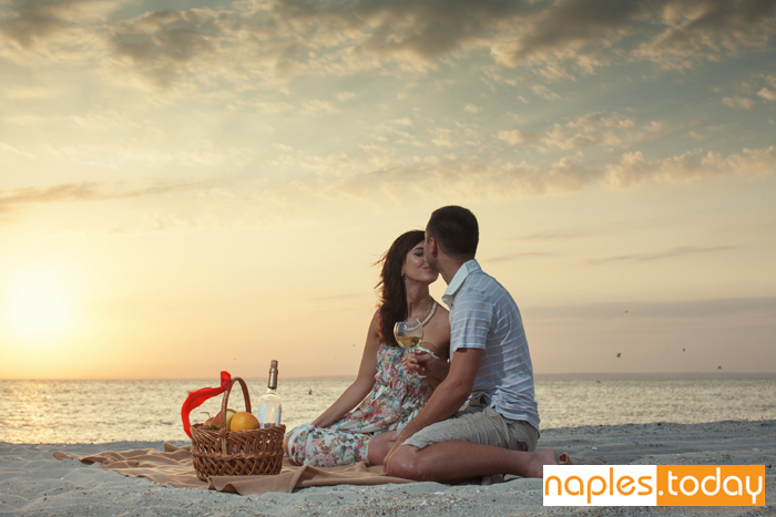 Romantic picnic on Naples beach