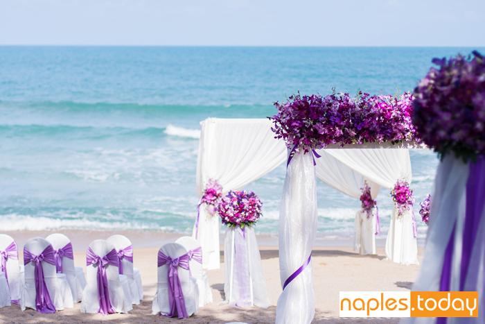 Wedding set up on Naples beach