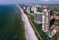 Aerial view of condos along Naples beach