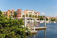 Bayfront yacht harbor in Naples Florida