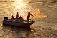 Cast net fisherman silhouette in Naples