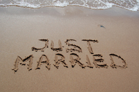 Just married beach wedding in Naples