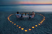 Romantic candle light dinner on Naples beach