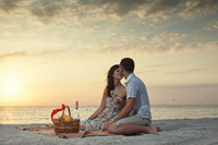 Romantic picnic on Naples beach