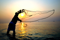 Throwing cast net during sunset